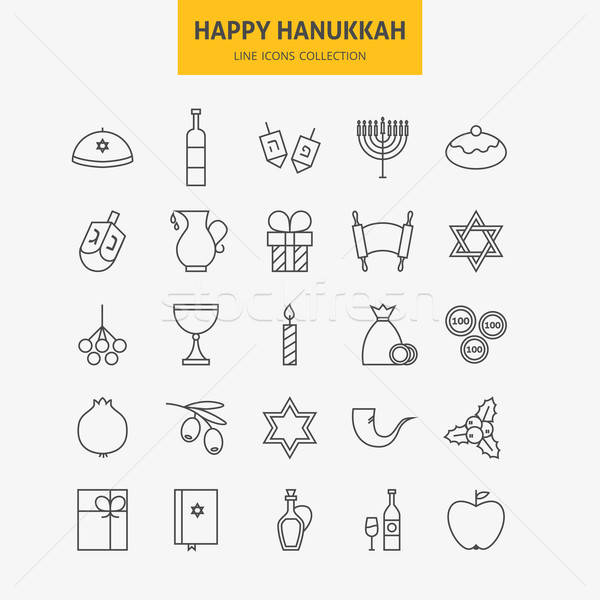 Line Jewish Happy Hanukkah Icons Big Set Stock photo © Anna_leni