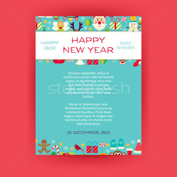 Happy New Year Invitation Vector Template Flyer Stock photo © Anna_leni