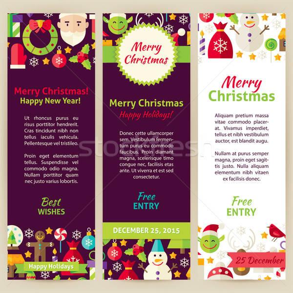 Merry Christmas Vector Party Invitation Template Flyer Set Stock photo © Anna_leni