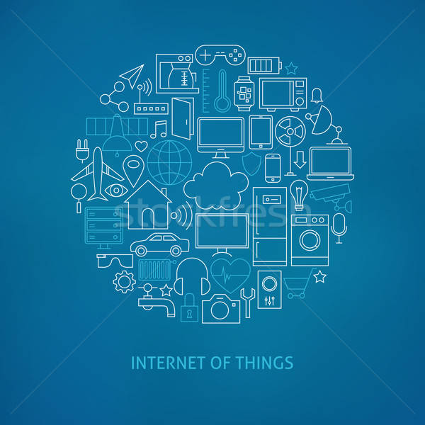 Thin Line Internet of Things Icons Set Circle Concept Stock photo © Anna_leni