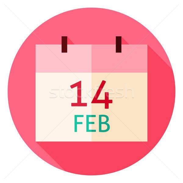 Valentine Day Calendar Date Circle Icon Stock photo © Anna_leni