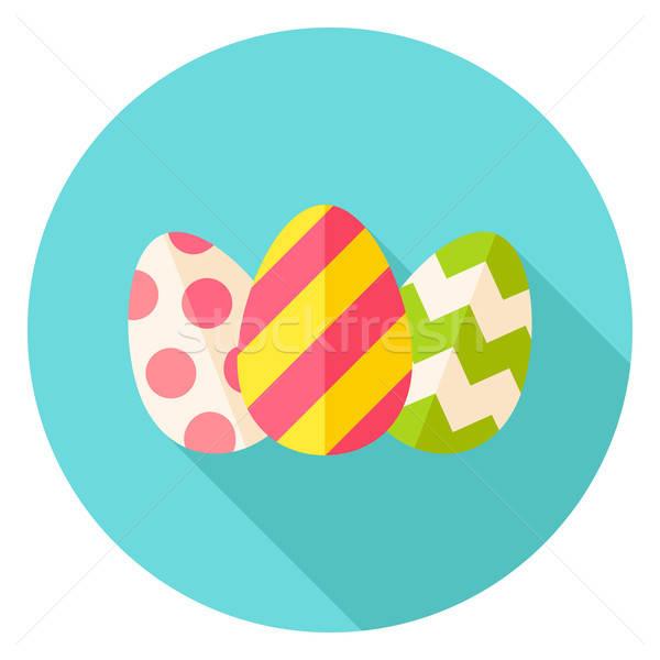 три пасхальных яиц круга икона дизайна Сток-фото © Anna_leni