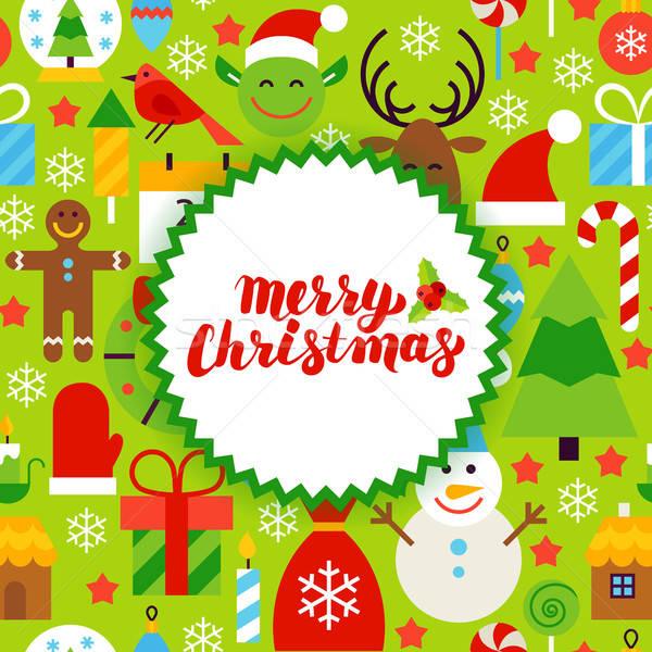 Stock photo: Flat Merry Christmas Postcard