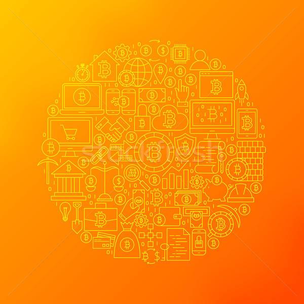 Línea bitcoin iconos círculo objetos Foto stock © Anna_leni