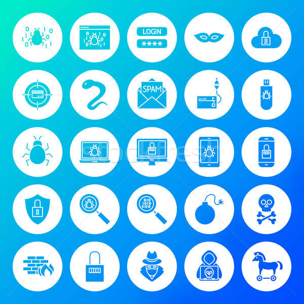 Hacker Circle Solid Icons Stock photo © Anna_leni