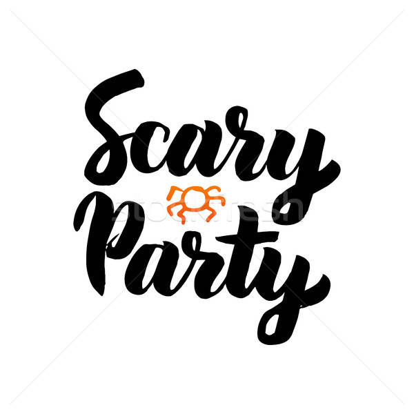 Scary party isolato manoscritto calligrafia design Foto d'archivio © Anna_leni