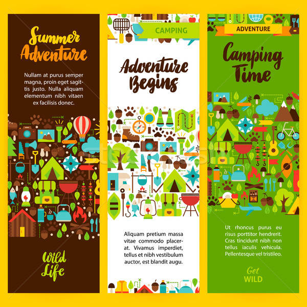 Camping vertical flyer design marque Photo stock © Anna_leni