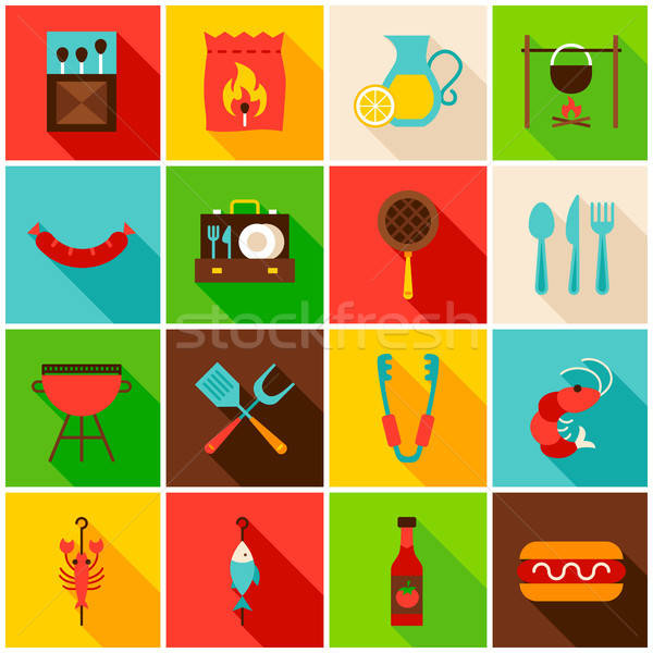 BBQ buli színes ikonok ikon szett téglalap Stock fotó © Anna_leni