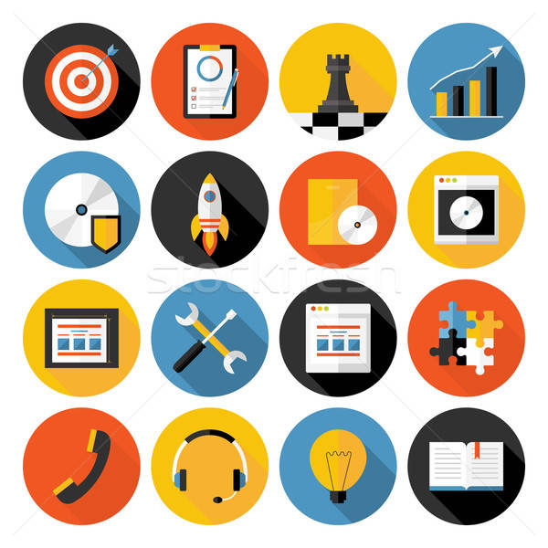 Flat icons vector collection with long shadow of web design obje Stock photo © Anna_leni