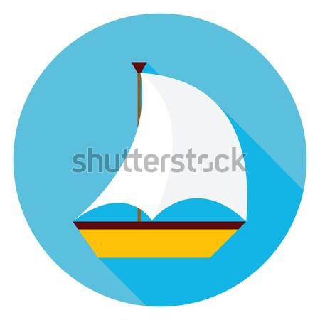 Flat Sea Ship Circle Icon with Long Shadow Stock photo © Anna_leni
