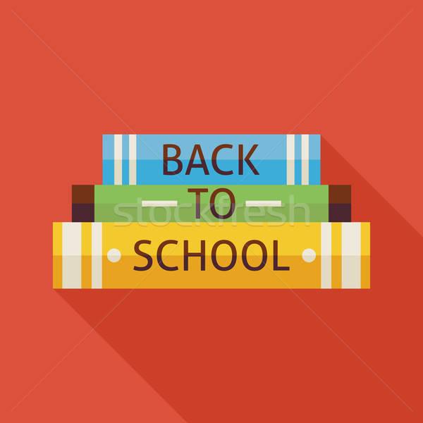Vissza az iskolába könyvek tudás illusztráció árnyék oktatás Stock fotó © Anna_leni