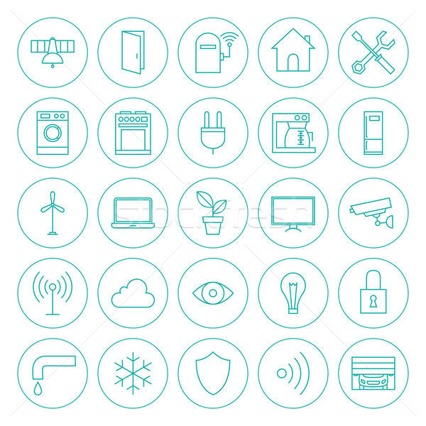 Stock photo: Line Circle Smart Home Technology Icons Set