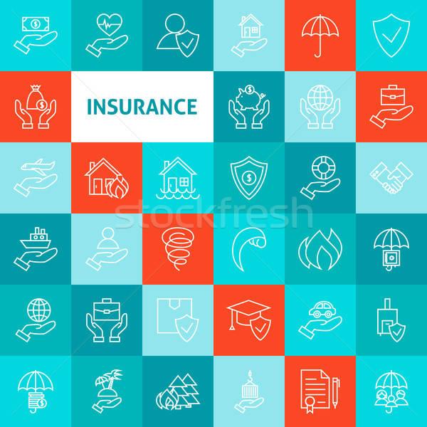Stock photo: Vector Line Art Insurance Icons Set
