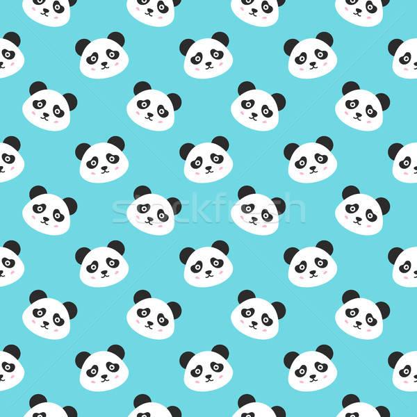 Mosolyog panda arcok végtelen minta aranyos állat Stock fotó © Anna_leni