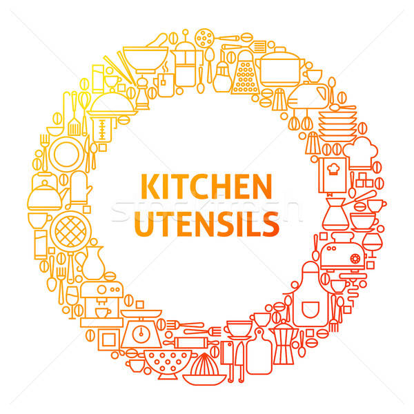 Kitchen Line Icon Circle Concept Stock photo © Anna_leni