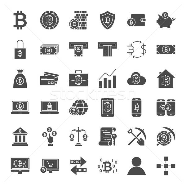 Bitcoin Solid Web Icons Stock photo © Anna_leni