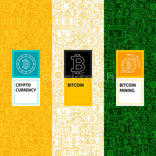 Line Bitcoin Patterns Set Stock photo © Anna_leni