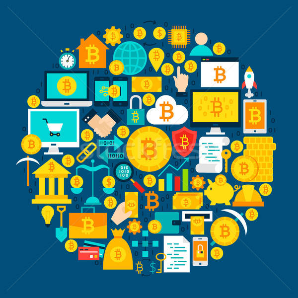 Bitcoin круга бизнеса дизайна веб ключевые Сток-фото © Anna_leni