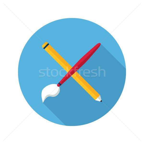 Brush and pencil icon Stock photo © Anna_leni