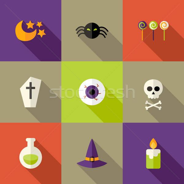 Halloween Squared Flat Icons Set 3 Stock photo © Anna_leni