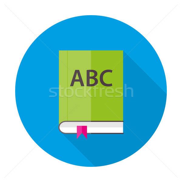 Stock photo: English ABC book flat circle icon