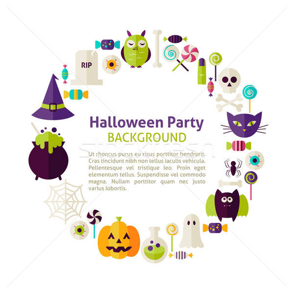 Flat Style Vector Circle Template Collection of Halloween Party  Stock photo © Anna_leni