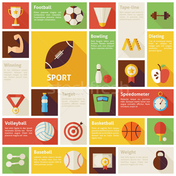 Flat Design Vector Icons Infographic Sport Recreation Competitio Stock photo © Anna_leni