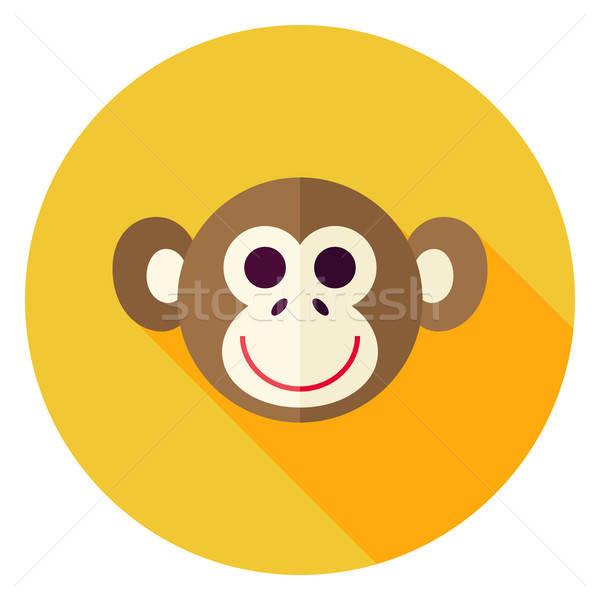 Vector Flat Design Monkey Circle Icon Stock photo © Anna_leni