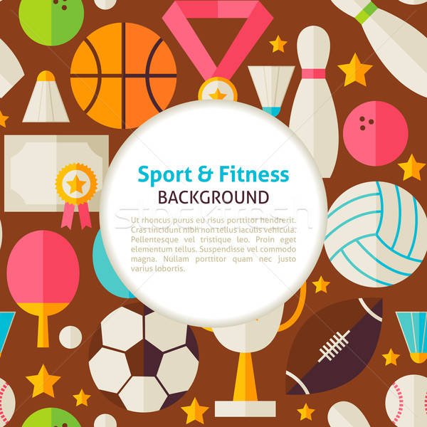 Flat Sport and Fitness Vector Pattern Background Stock photo © Anna_leni