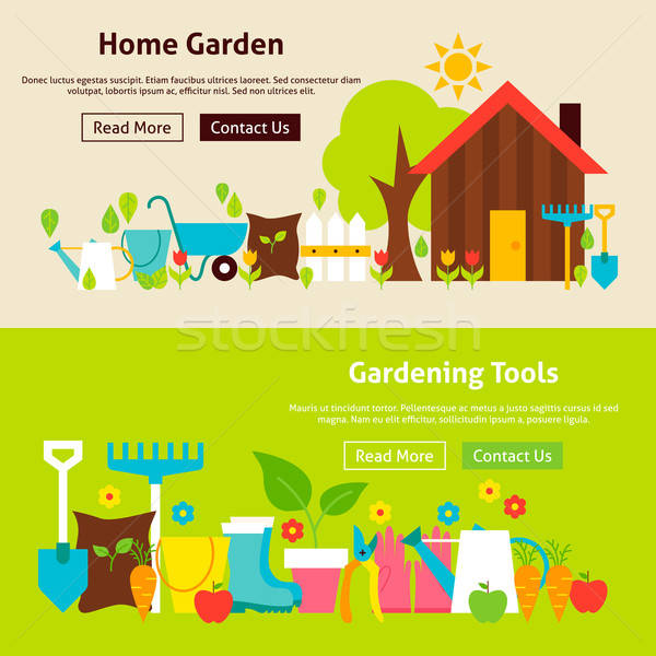 Home Gardening Tools Flat Website Banners Set Stock photo © Anna_leni