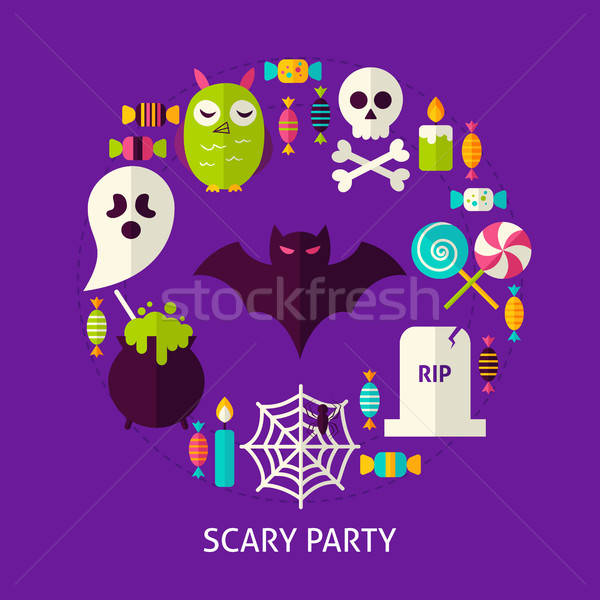 Scary strony halloween plakat projektu zestaw Zdjęcia stock © Anna_leni