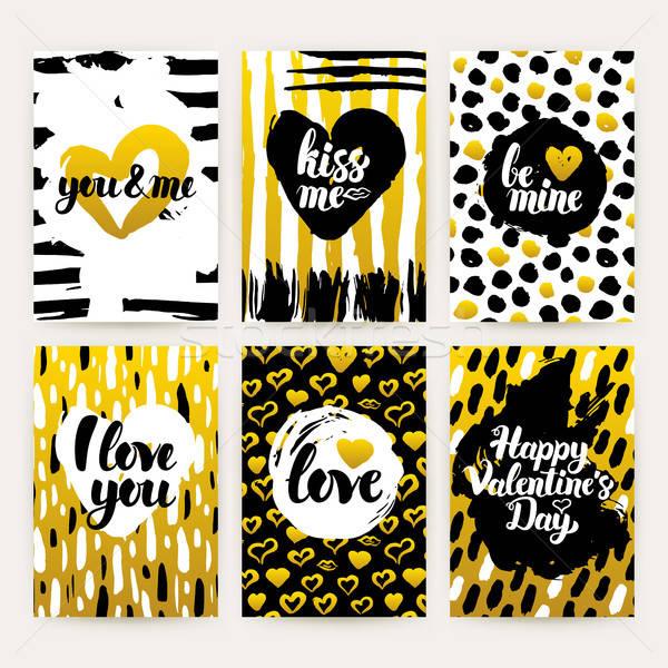 Sevgililer günü altın moda broşür 80s stil Stok fotoğraf © Anna_leni