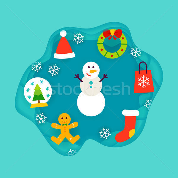 Winter Holiday Papercut Concept Stock photo © Anna_leni