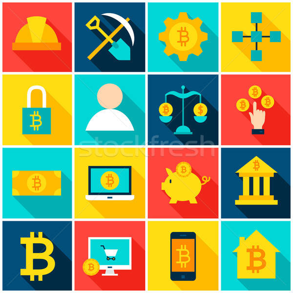 Cryptocurrency Bitcoin Colorful Icons Stock photo © Anna_leni
