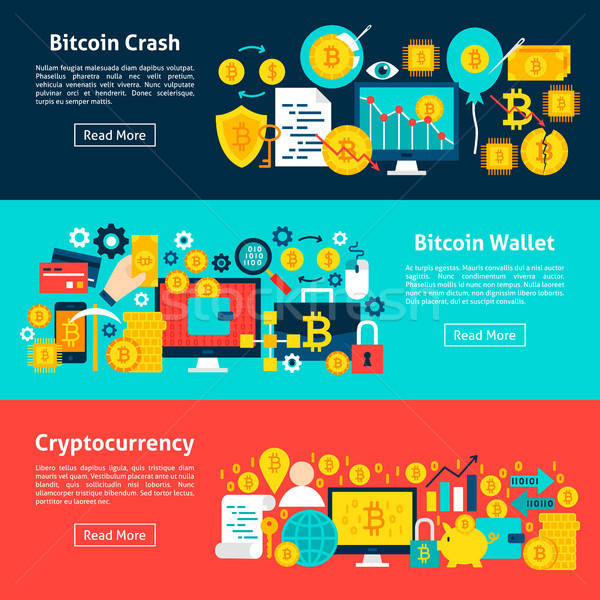 Bitcoin horizontal banners sitio web negocios Foto stock © Anna_leni