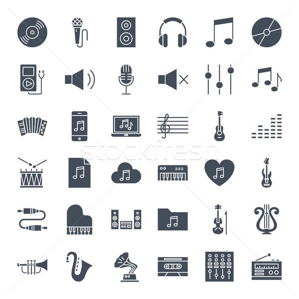Music Solid Web Icons Stock photo © Anna_leni