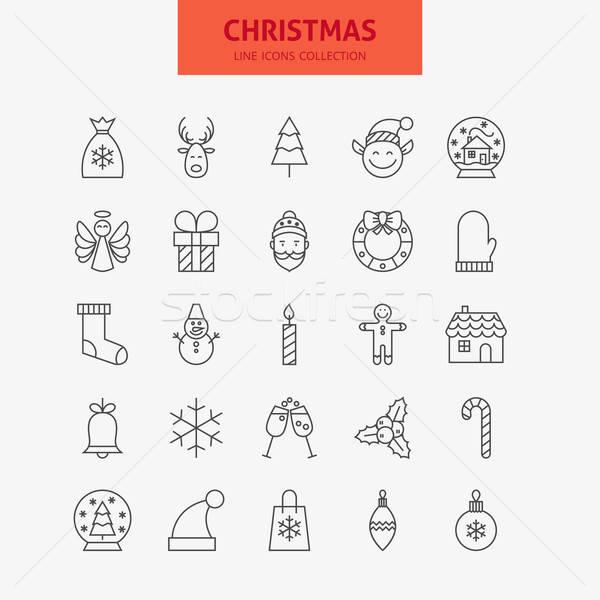 Line Christmas New Year Icons Big Set Stock photo © Anna_leni
