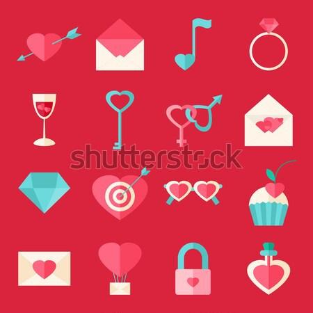 San Valentín día objetos establecer aislado blanco Foto stock © Anna_leni