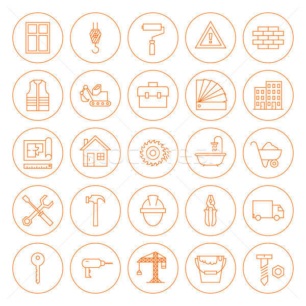 Line Circle Building and Construction Icons Set Stock photo © Anna_leni
