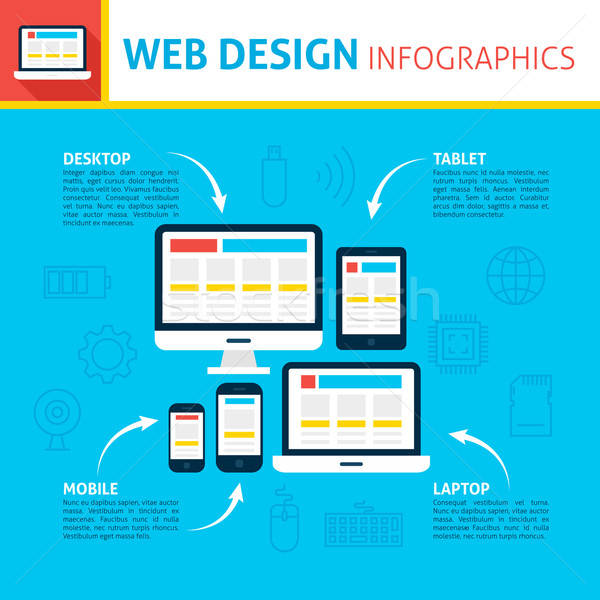 Web design infographics ontwerp sympathiek website design business Stockfoto © Anna_leni