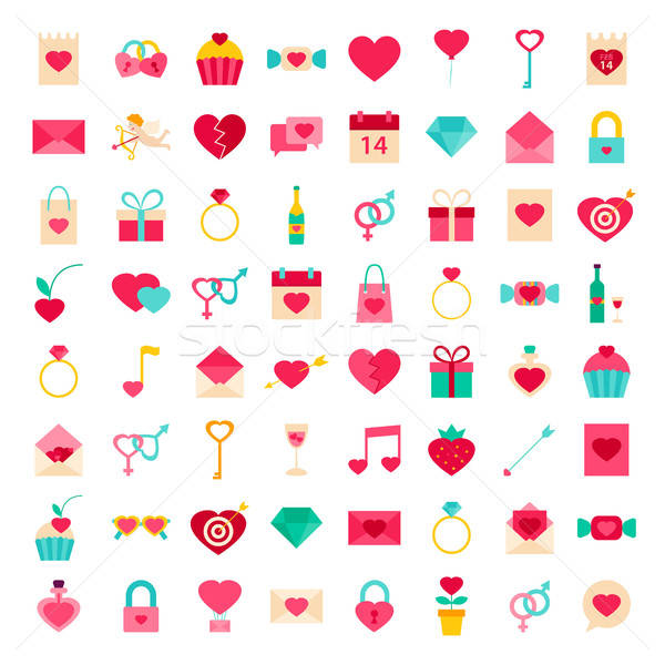 Big Set Valentines Day Objects Stock photo © Anna_leni