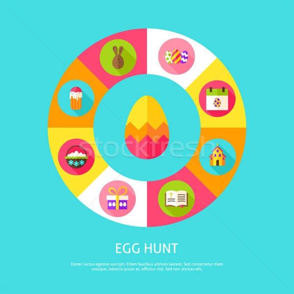Tojás vadászat kellemes húsvétot infografika kör ikonok Stock fotó © Anna_leni