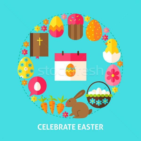 Kutlamak Paskalya kartpostal poster dizayn toplama Stok fotoğraf © Anna_leni