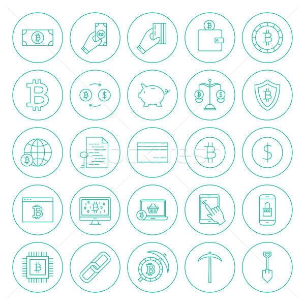 Line Cryptocurrency Circle Icons Stock photo © Anna_leni