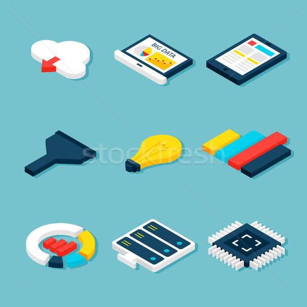 Stockfoto: Groot · gegevens · business · isometrische · objecten · vector