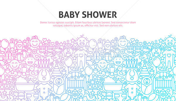 Baba zuhany vonal website design szalag sablon Stock fotó © Anna_leni