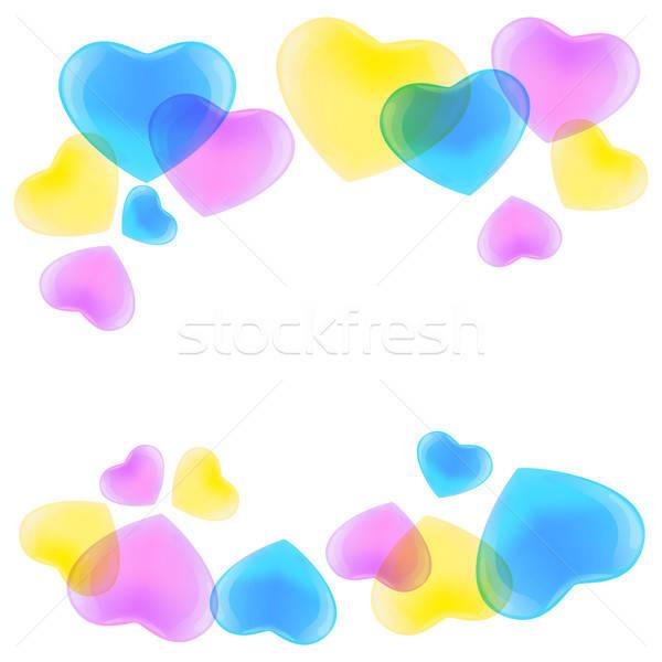 Pattern with CMYK hearts Stock photo © Anna_leni