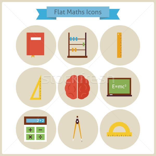 Flat School Maths and Physics Icons Set Stock photo © Anna_leni