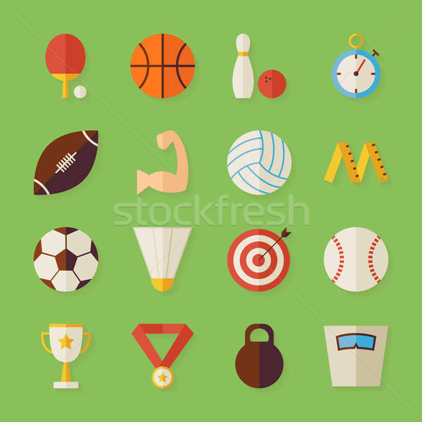 Flat Sport Recreation and Competition Objects Set with Shadow Stock photo © Anna_leni