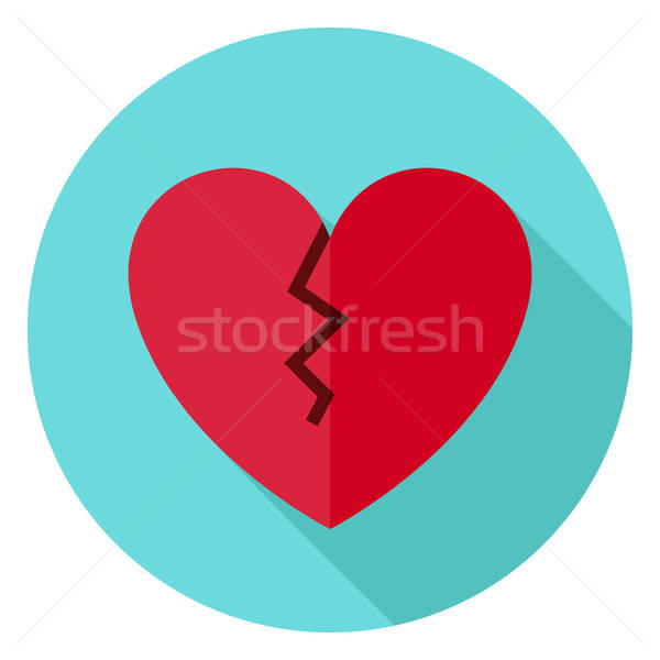 Broken Heart Circle Icon with long Shadow Stock photo © Anna_leni